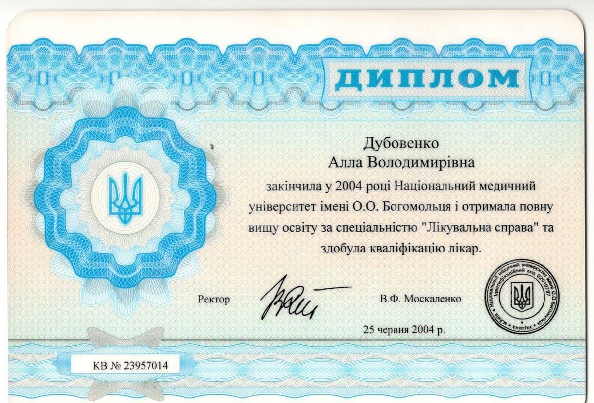 Документ №:11 Диплом врача-дерматолога, косметолога Дубовенко Аллы Владимировны