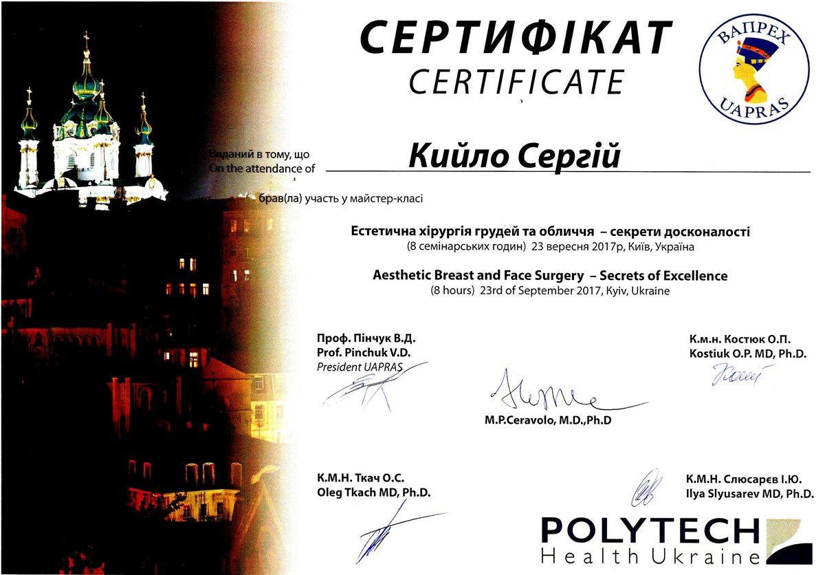 Документ №:20 Сертификат пластического хирурга Кийло Сергея Алексеевича