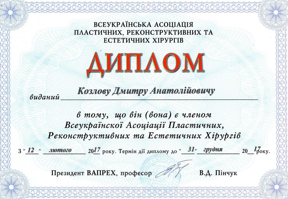 Документ №:6 Диплом пластического хирурга Козлова Дмитрия Анатольевича