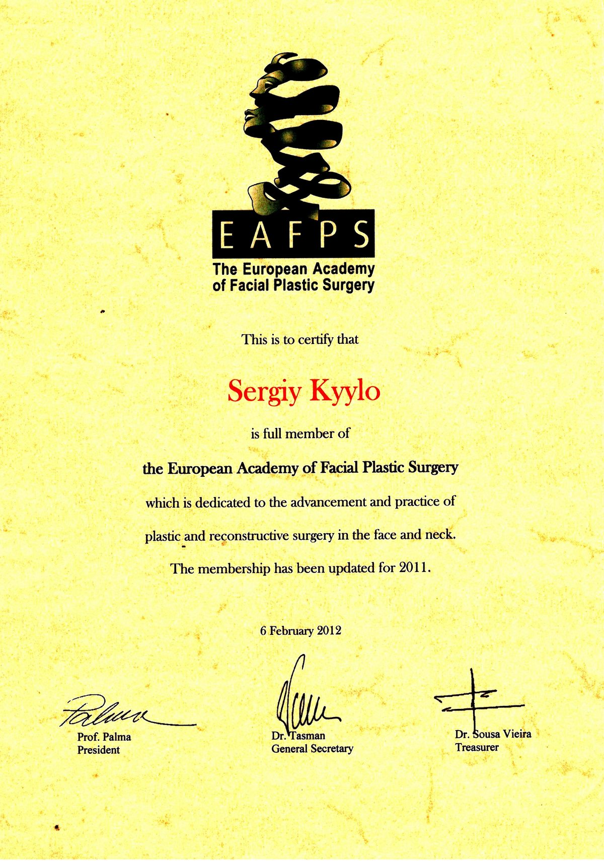 Документ №:6 Сертификат пластического хирурга Кийло Сергея Алексеевича