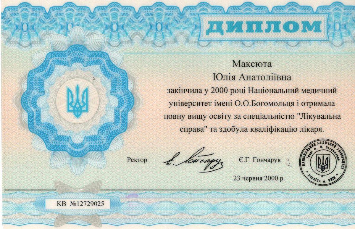 Документ №:7 Диплом врача-дерматолога, косметолога Максюты Юлии Анатольевны